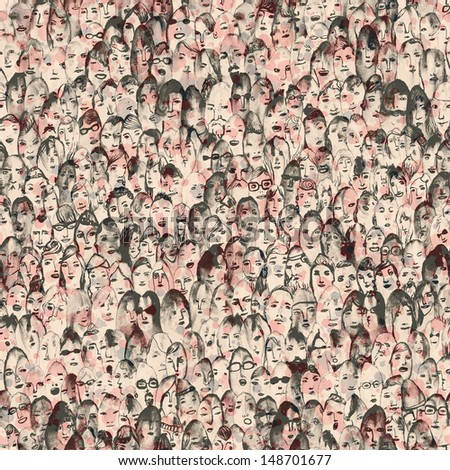 Seamless hand drawn crowd of people illustration - stock photo
