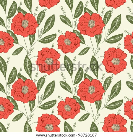 Seamless Hand-Drawn Floral Pattern - stock photo