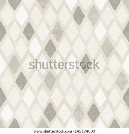 Seamless hand-drawn harlequin pattern on paper texture. Argyle background. - stock photo