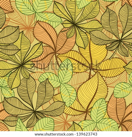 Seamless hand drawn vintage background with autumn leaves. Raster version of the vector image - stock photo