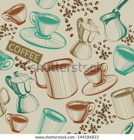 Seamless hand drawn vintage coffee pattern. Raster version of the vector image - stock photo