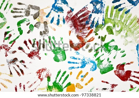 Seamless hands background isolated on white - stock photo