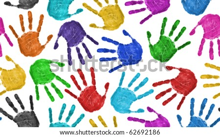 Seamless hands background isolated on white - teamwork concept - stock photo