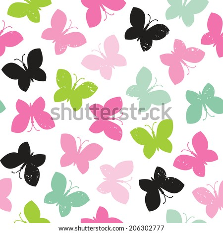 Seamless hipster background with butterflies pattern in pinks and greens, raster version. - stock photo