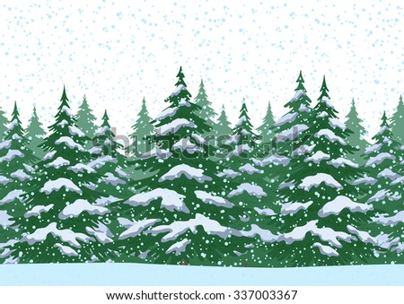 Seamless Horizontal Christmas Winter Forest Landscape with Fir Trees and Snow.  - stock photo