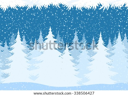 Seamless Horizontal Christmas Winter Forest Landscape with Snow and Fir Trees and Branch Silhouettes.  - stock photo