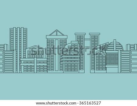 Seamless horizontal ornament City skyscrapers, buildings. modern city, metropolis  - stock photo