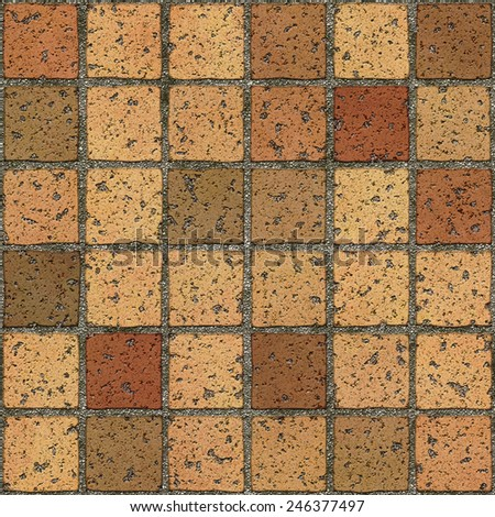 Seamless illustration of a driveway tiled floor. Seamless texture means that you can place a sample side by side and repeat it infinitely or use it as material for games, 3D scenes/objects, and etc. - stock photo