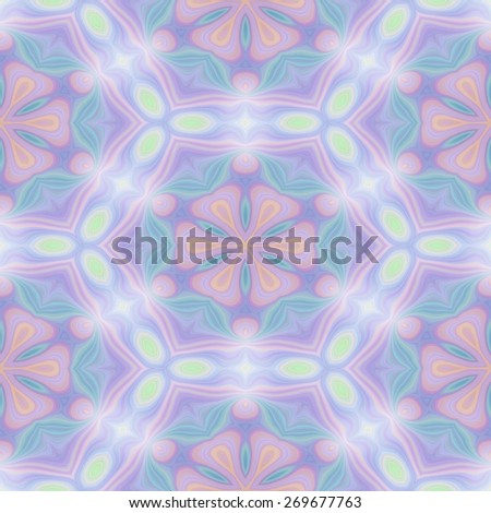 Seamless kaleidoscope texture or pattern in pastel colors 1 - wallpaper pattern - stock photo