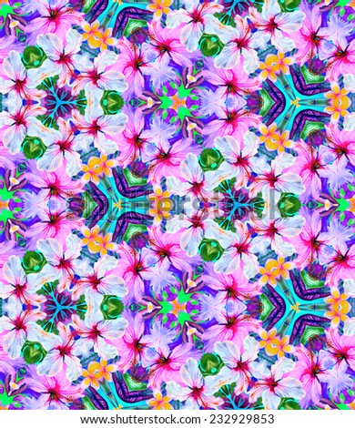 Seamless kaleidoscopic pattern with tropical flowers. psychedelic and fun dramatic allover print. - stock photo