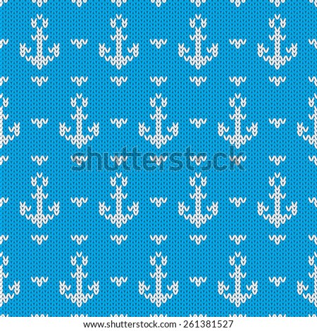 Seamless knitted pattern with anchors. Raster version - stock photo