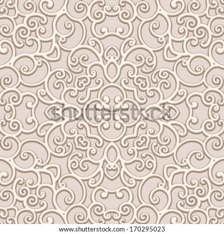 Seamless lace pattern, vintage beige ornament, raster background - stock photo