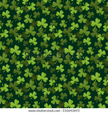 Seamless leaf green clover pattern in flat style on a dark background.Web.St.Patricks Day - stock photo