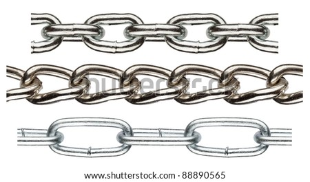 Seamless metal chain parts on white background - stock photo