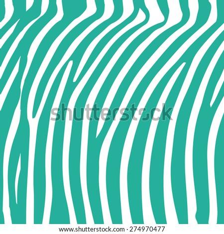 Seamless mint and white zebra skin pattern - stock photo