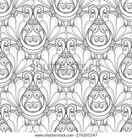 Seamless Monochrome Damask Pattern. Hand Drawn Vintage Texture - stock photo