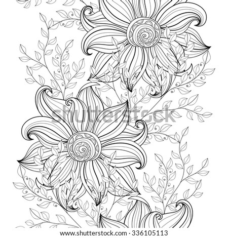 Seamless Monochrome Floral Pattern. Hand Drawn Floral Texture, Decorative Flowers, Coloring Book - stock photo