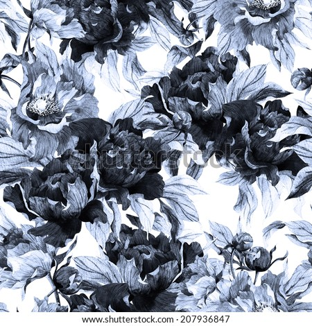 Seamless monochrome floral pattern with roses on white background, watercolor. - stock photo