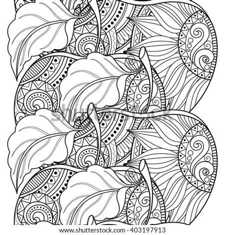 Seamless Monochrome Fruit Pattern. Hand Drawn Decorative Apple - stock photo