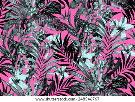 seamless monochrome jungle pattern. tropical flowers on neon background in black and white. midnight exotic design. - stock photo