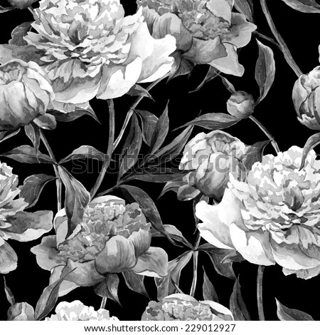 Seamless monochrome vintage floral watercolor background with peonies - stock photo