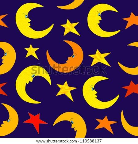 Seamless moon and stars on night bright blue sky illustration - stock photo