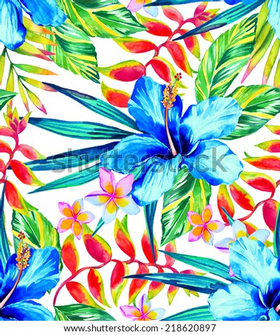 seamless multicolour garden tropic floral patternwith hibiscus - stock photo