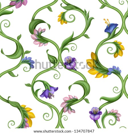 seamless natural lattice pattern with leaves and flowers - stock photo