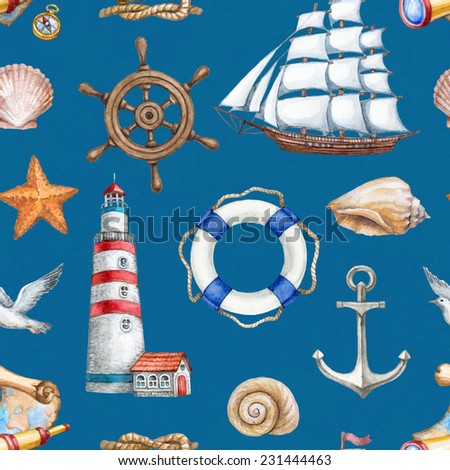 Seamless nautical pattern - stock photo