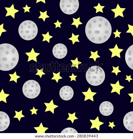 Seamless Night Pattern - stock photo