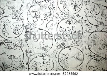 seamless old vintage fresco flower pattern - stock photo