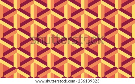 Seamless orange retro op art hex construction optical illusion pattern - stock photo