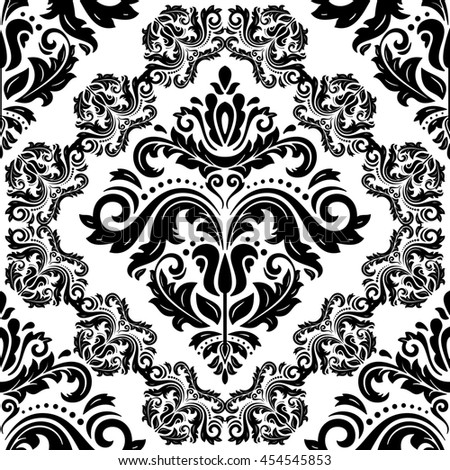 Seamless oriental ornament in the style of baroque. Traditional classic pattern. Black and white wallpaper - stock photo