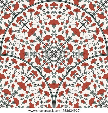Seamless oriental pattern. Raster version. - stock photo