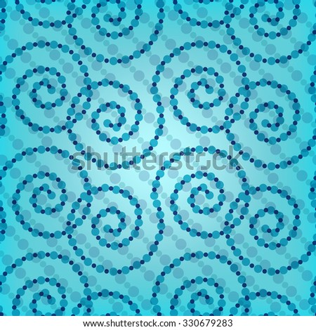 Seamless ornament from swirls - illustration. Transparent background blue color - stock photo