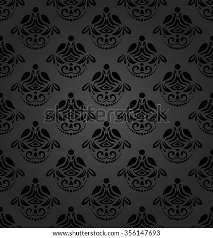 Seamless ornament. Modern stylish geometric dark pattern with repeating vintage elements - stock photo