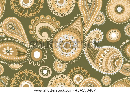 Seamless Paisley background Elegant Hand Drawn Pattern. Raster version.  Can be used as prints for textiles and graphic design - stock photo
