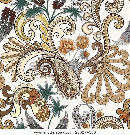 seamless paisley pattern in brown and beige tones decorated with flowers, leaves and decorative swirls on a light background - stock photo