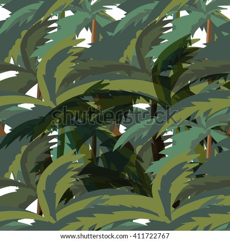 Seamless Palm Trees Leaves pattern. Illustration of a seamless pattern background with palm trees leaves for tropical jungle floral - stock photo