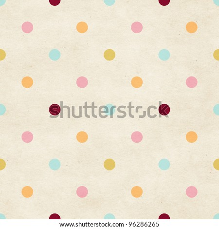 Seamless paper textured polka dots pattern - stock photo