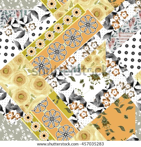 Seamless patchwork design floral pattern with yellow roses and flowers print - stock photo
