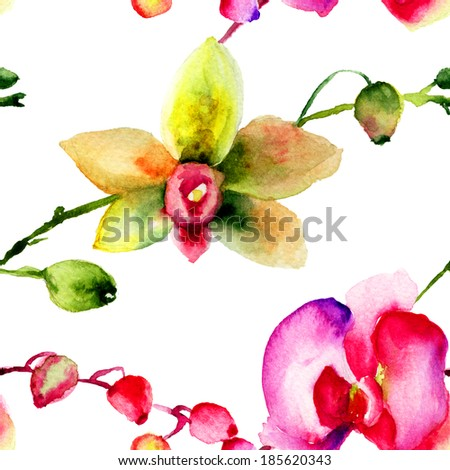 Seamless patter with Orchids flowers, watercolor illustration  - stock photo