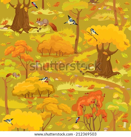 Seamless pattern - Autumn Forest Landscape with trees, mushrooms, birds and squirrels. Ready to use as swatch. Raster version - stock photo