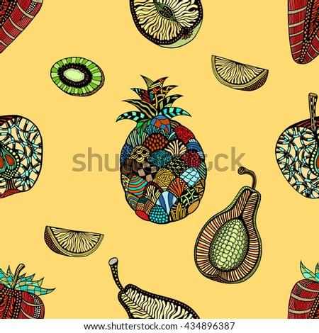 Seamless pattern backgroud of fruit. Plant. Exotic fruit. Line art. Colored Hand drawn. Doodle art illustration. - stock photo