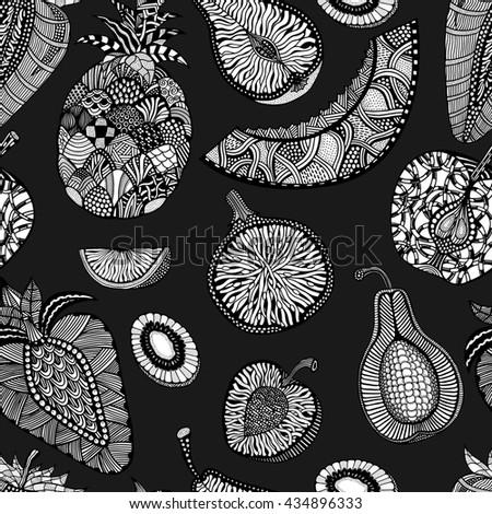 Seamless pattern backgroud of fruit. Plant. Exotic fruit. Line art. Monochrome Hand drawn. Doodle art illustration. - stock photo