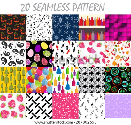 Seamless Pattern Background  Set - stock photo