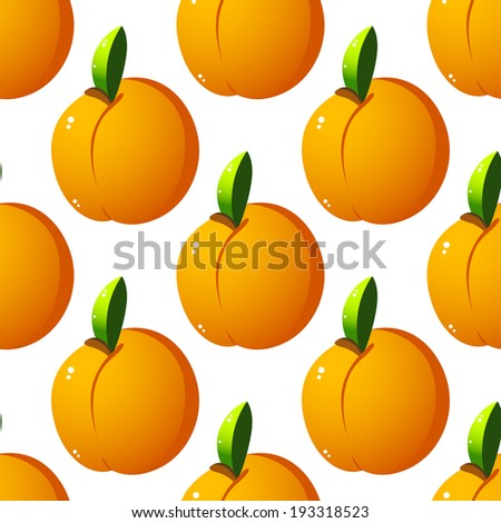 Seamless pattern background with yellow  apricots fruits. Vector version also available in gallery - stock photo