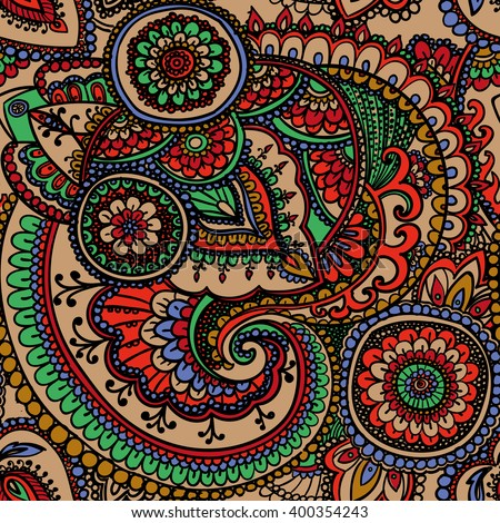 Seamless pattern based on traditional Asian elements Paisley.  - stock photo