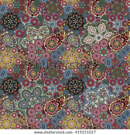 Seamless pattern based on traditional Asian elements Paisley. Colorful pastel blue yellow vinous illustration.  background. - stock photo