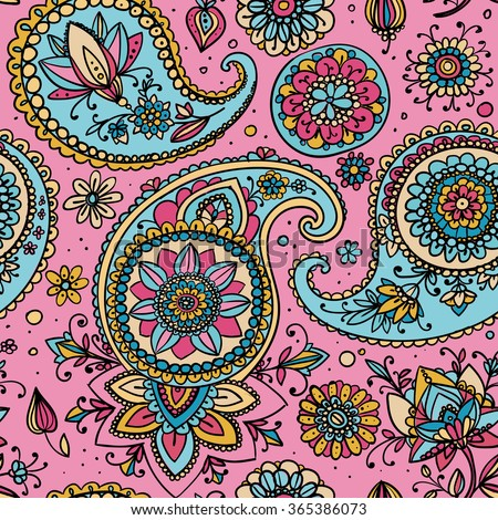 Seamless pattern based on traditional Asian elements Paisley. Pale pink and pale blue. - stock photo